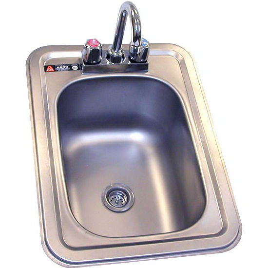 Aero stainless steel hand sink with faucet. Drop-in, stainless steel
