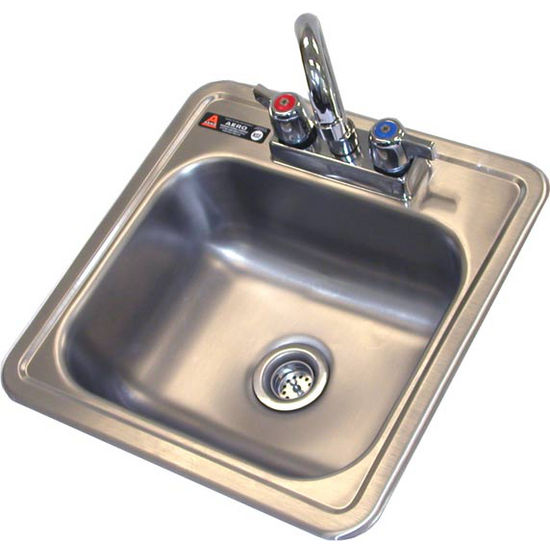 "Aero 15"" wide Stainless Steel drop in sink with faucet and strainer basket"