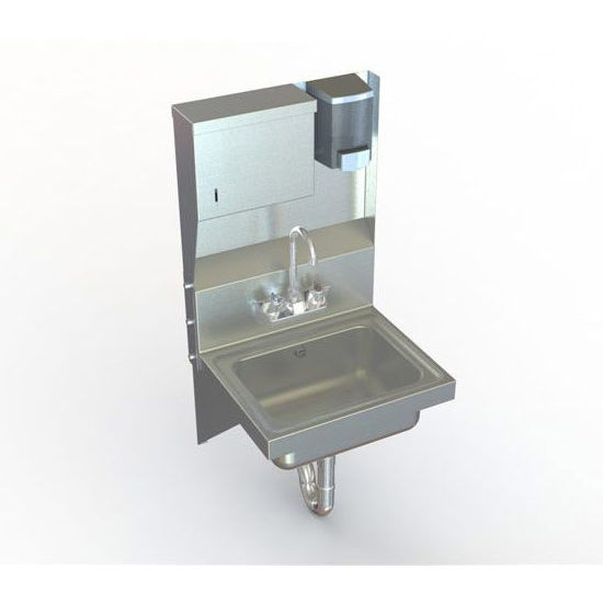 Aero stainless steel utility sink with soap and towel dispenser