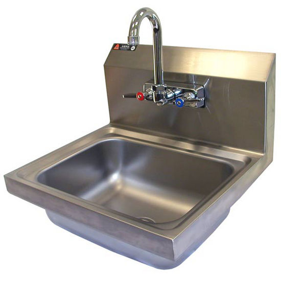 "Aero stainless steel utility sink with 8"" rear riser. Includes gooseneck faucet, strainer and p-trap overflow."