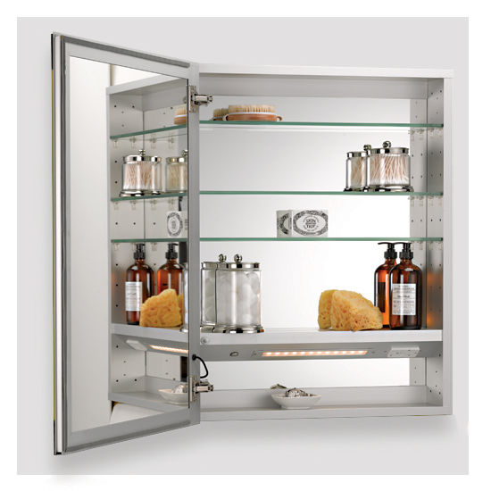 Opened View. Illume Collection Rectangle Backlit LED Medicine Cabinets w Inside