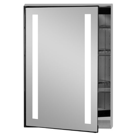Illume Collection Rectangle Backlit Led Medicine Cabinets W Inside Electrical Sockets Hinged