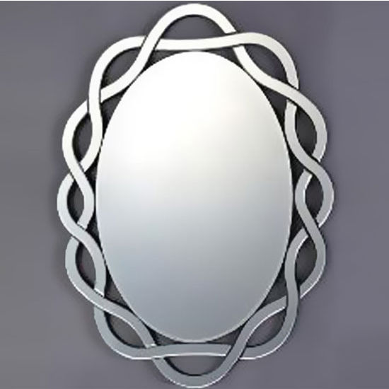 Afina Modern Luxe Collection Oval Contemporary Openwork Mirrored Glass Decorative Wall Mirror, 24'' Diameter x 31'' H