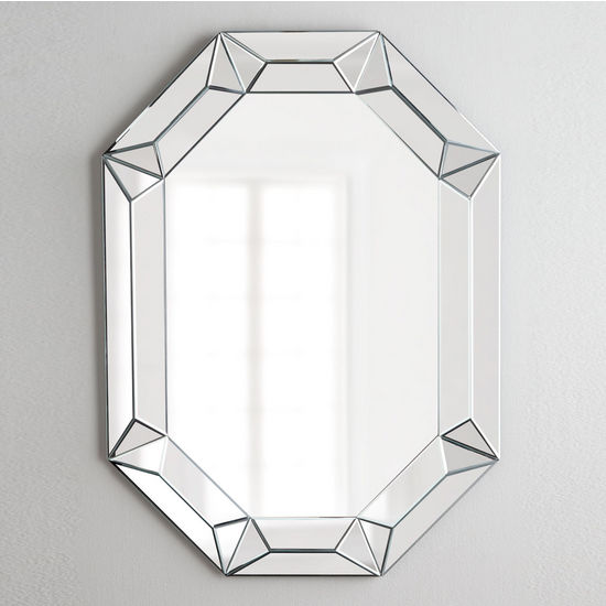 Afina Modern Luxe Collection Octagon Contemporary Openwork Mirrored Glass Decorative Wall Mirror, 28'' W x 42'' H