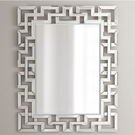 Afina Modern Luxe Collection Rectangle Contemporary Openwork Mirrored Glass Decorative Wall Mirror, 32'' W x 42'' H