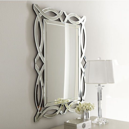 Afina Modern Luxe Collection Scallop Contemporary Openwork Mirrored Glass Decorative Wall Mirror, 32'' W x 42'' H