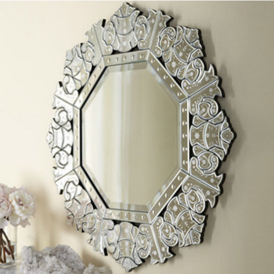 Afina Radiance Collection 32'' W x 32'' H Octagonal Mirror in Cut Glass & Etched
