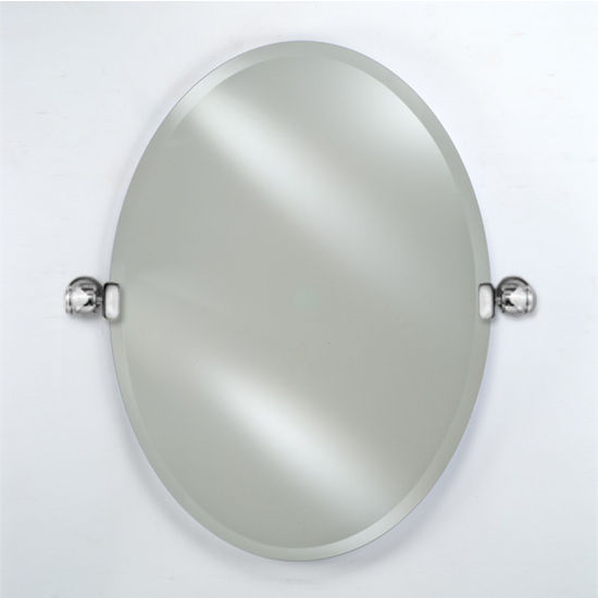 Afina Radiance Collection Oval Frameless Beveled Wall Mirror with Decorative Transitional Tilt Brackets, Sold as Pair
