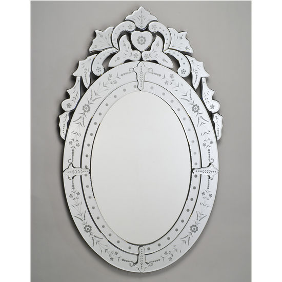 Bathroom Mirror Traditional Oval Wall Mirror With Cut And Etched Glass Fram