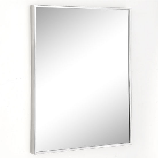 Afina Urban Steel Rectangle Wall Mirror in Polished or Brushed Stainless Steel in Multiple Sizes with 3/8'' Wide Frame