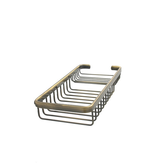 Allied Brass Shower Basket Collection Rectangular Shower Basket, Premium Finish, Antique Brass