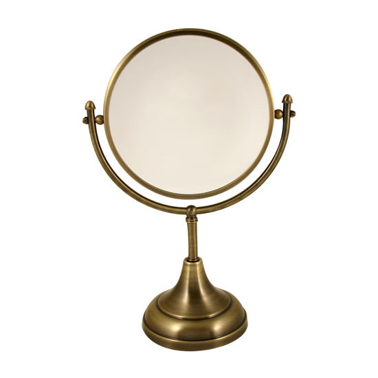 "Allied Brass 8"" Dual Sided Table Mirror, 2x Magnification, 15""H, Premium, Antique Brass"