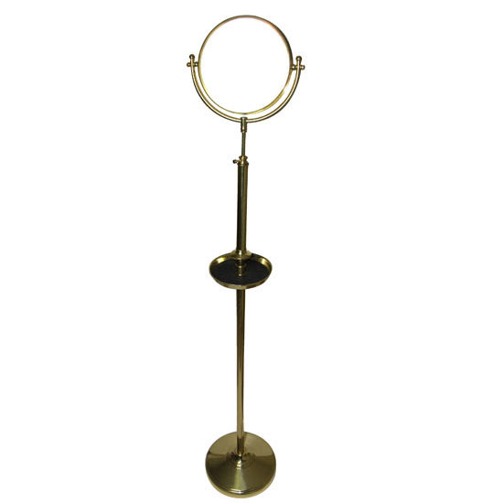 "Allied Brass 8"" Floor Mirror, 2x Magnification, with Shave Tray, Standard, Polished Brass"
