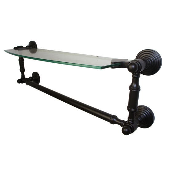 Allied Brass Dottingham Collection 18'' Single Glass Shelf with Towel Bar, Premium Finish, Oil Rubbed Bronze