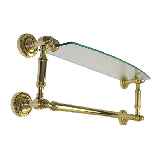 Allied Brass Dottingham Collection 18'' Single Glass Shelf with Towel Bar, Standard Finish, Polished Brass