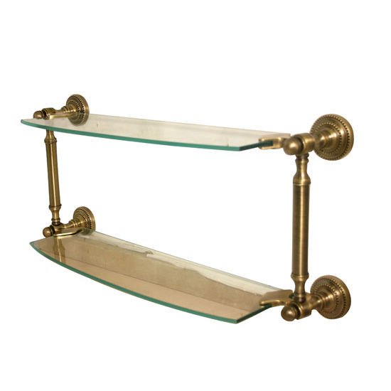 Allied Brass Dottingham Collection 18'' Double Glass Shelf, Premium Finish, Antique Brass