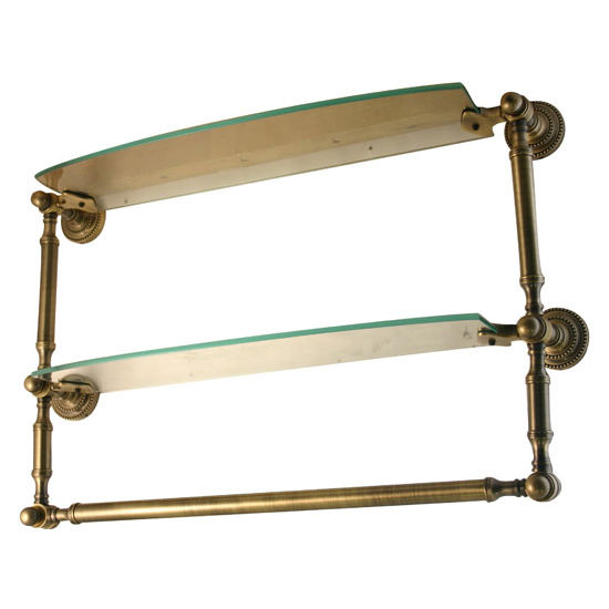 Allied Brass Dottingham Collection 18'' Double Glass Shelf with Towel Bar, Premium Finish, Antique Brass