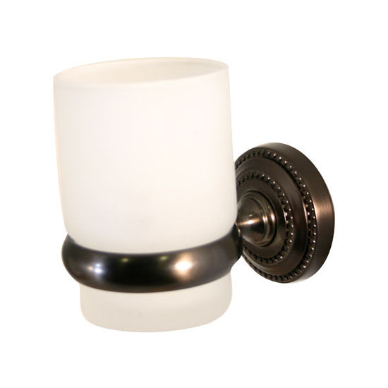 Allied Brass Dottingham Collection Glass Tumbler with Wall Mounted Holder, Premium Finish, Oil Rubbed Bronze