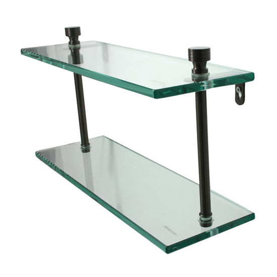 Allied Brass Foxtrot Collection 16'' Double Glass Shelf, Premium Finish, Oil Rubbed Bronze