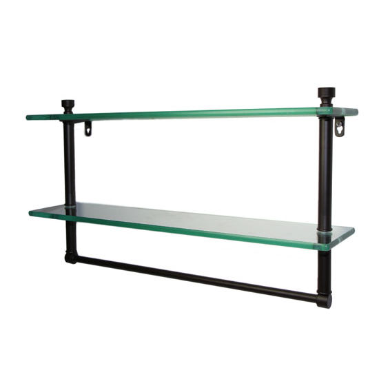 Allied Brass Foxtrot Collection 16'' Double Glass Shelf with Towel Bar, Premium Finish, Oil Rubbed Bronze
