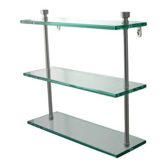 Allied Brass Foxtrot Collection 16'' Triple Glass Shelf, Premium Finish, Satin Nickel