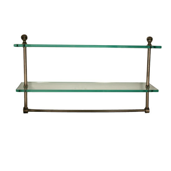 Allied Brass Mambo Collection 16'' Double Glass Shelf w/Towel Bar, Premium Finish, Antique Brass