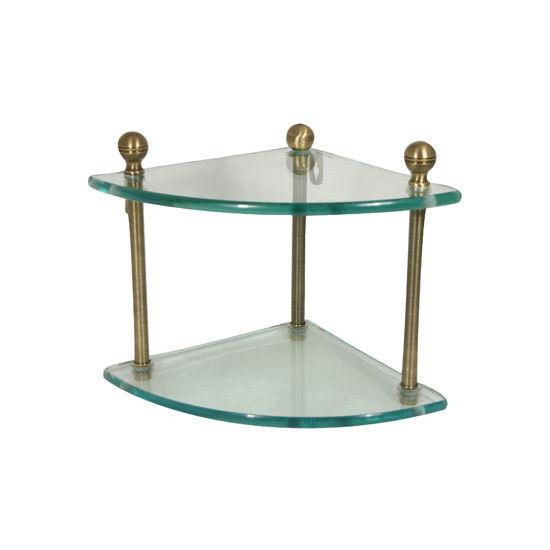 Allied Brass Mambo Collection Double Corner Glass Shelf, Premium Finish, Antique Brass