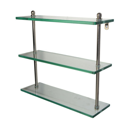 Allied Brass Mambo Collection 16'' Triple Glass Shelf, Premium Finish, Satin Nickel