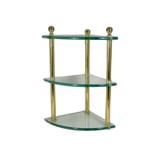 Allied Brass Mambo Collection Triple Corner Glass Shelf, Standard Finish, Polished Brass