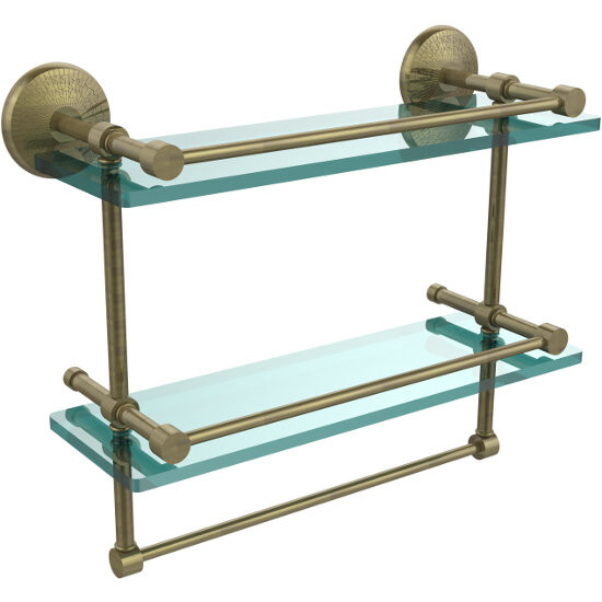 Monte Carlo Collection 16''W Gallery Double Glass Shelf with Towel Bar
