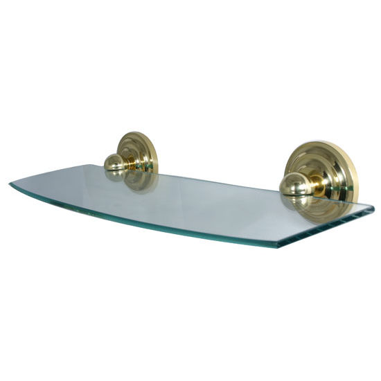 Allied Brass Prestige Que New Collection 18'' Glass Shelf, Standard Finish, Polished Brass