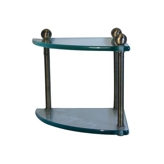 Allied Brass Prestige Regal Collection Double Corner Glass Shelf, Premium Finish, Antique Brass