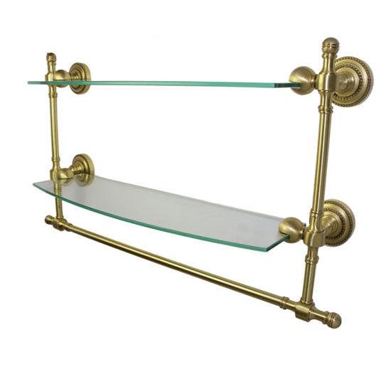 Allied Brass Retro-Dot Collection 18'' Double Glass Shelf w/Towel Bar, Premium Finish, Satin Brass
