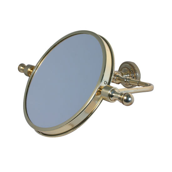 "Allied Brass Retro-Dot 8"" Swivel Mirror, 2x Magnification, Standard, Polished Brass"