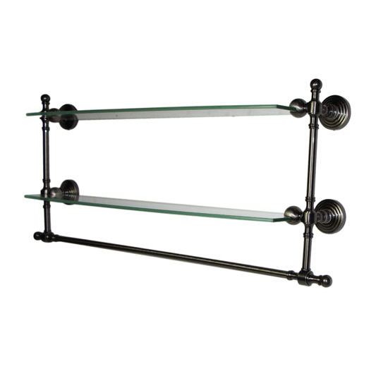 Allied Brass Retro-Wave Collection 18'' Double Glass Shelf w/Towel Bar, Premium Finish, Antique Pewter