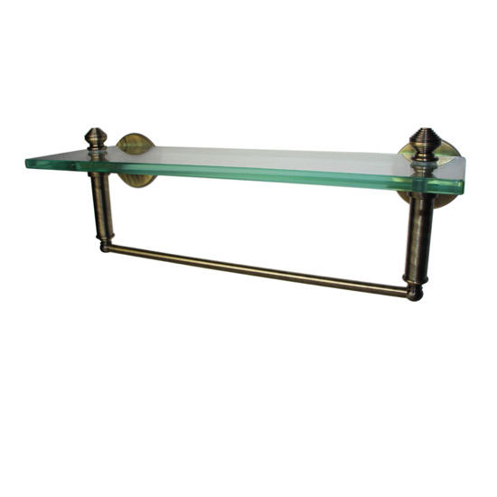 Allied Brass Southbeach Collection 16'' Glass Shelf w/Towel Bar, Premium Finish, Antique Brass