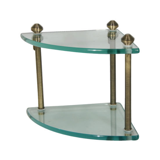 Allied Brass Southbeach Collection Double Corner Glass Shelf, Premium Finish, Antique Brass