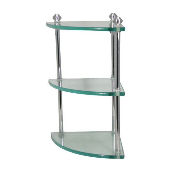 Allied Brass Southbeach Collection Triple Corner Glass Shelf, Standard Finish, Polished Chrome