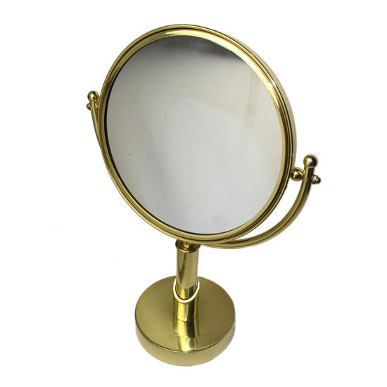 "Allied Brass Soho 8"" Table Mirror, 2x Magnification, Standard, Polished Brass"