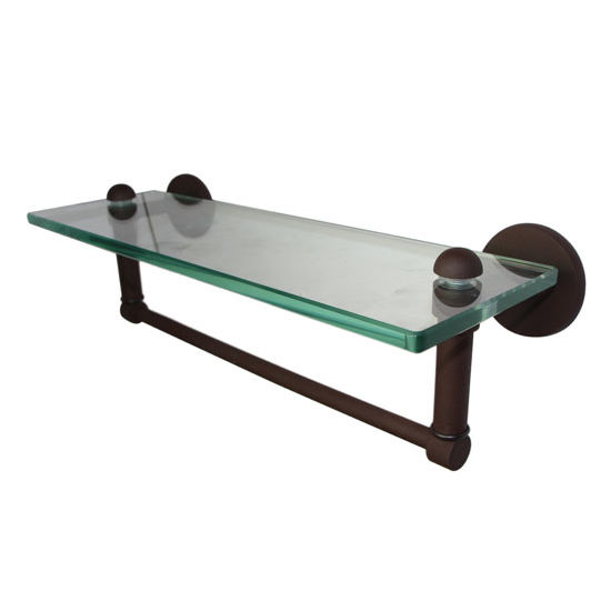 Allied Brass Tango Collection 16'' Glass Shelf w/Towel Bar, Premium Finish, Rustic Bronze