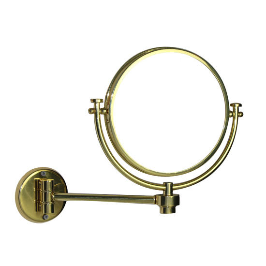 "Allied Brass 8"" Bottom Mount Wall Mirror, 2x Magnification, Extends 7"", Standard, Polished Brass"