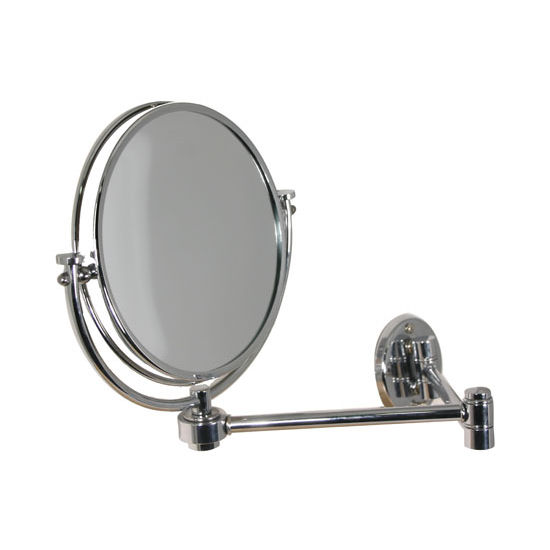 "Allied Brass 8"" Wall Mirror, 2x Magnification, Extends 14"", Standard, Polished Chrome"
