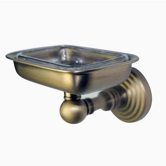 Allied Brass Waverly Place Collection Soap Dish with Glass Liner, Premium Finish, Antique Brass