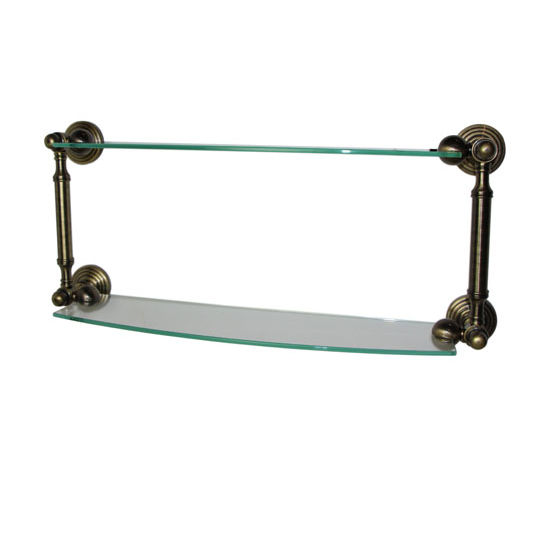 Allied Brass Waverly Place Collection 18'' Double Glass Shelf, Premium Finish, Antique Brass