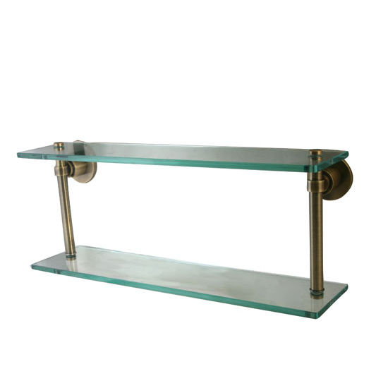 Allied Brass Washington Square Collection 16'' Double Glass Shelf, Premium Finish, Antique Brass