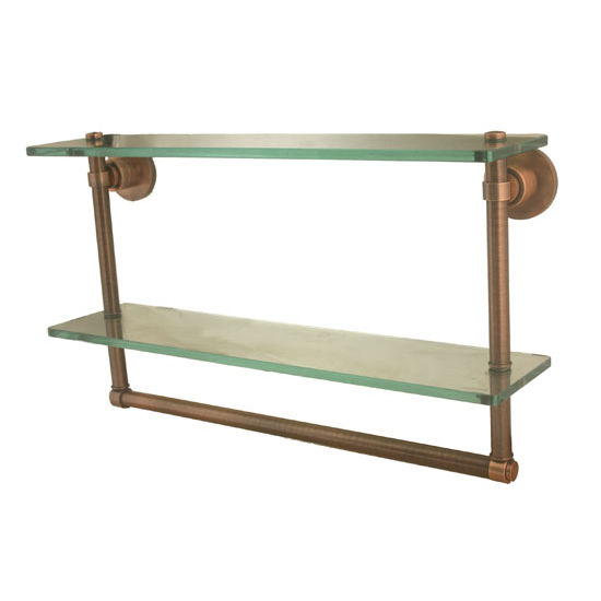 Allied Brass Washington Square Collection 16'' Double Glass Shelf w/Towel Bar, Premium Finish, Antique Copper