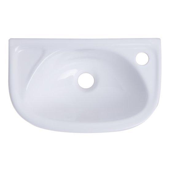"Alfi brand Small White Wall Mounted Porcelain Bathroom Sink Basin, 16-1/4"" W x 10-1/8"" D x 5-1/2"" H"