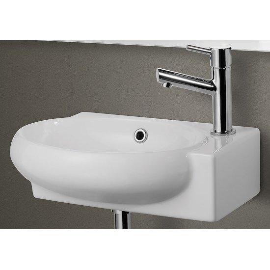 "Alfi brand Small White Wall Mounted Ceramic Bathroom Sink Basin, 17"" W x 10-3/4"" D x 4-7/8"" H"