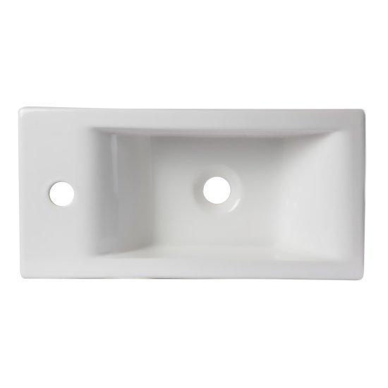 "Alfi brand Small White Modern Rectangular Wall Mounted Ceramic Bathroom Sink Basin, 19-1/4"" W x 9-1/2"" D x 5-1/4"" H"