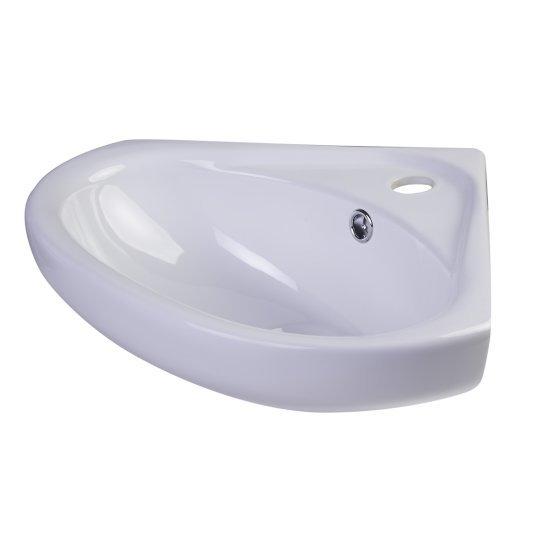 """Alfi brand 18"""" White Corner Porcelain Wall Mounted Bath Sink, 18-1/2"""" W x 15-3/4"""" D x 7-1/8"""" H"""